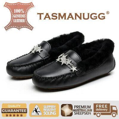 Tasman UGG - Star moccasin,Pure wool lining and insole,Water-resistant,Black CL