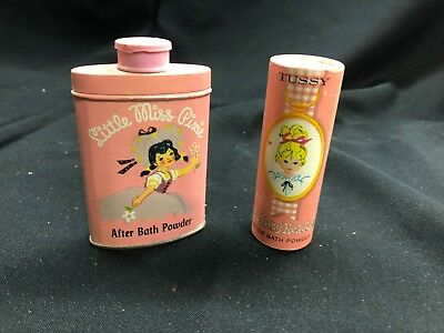 Vintage Little Miss Pixie After Bath Powder Pink Budding Beauty Powder Tin Tussy