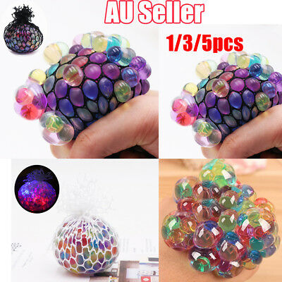 1~5PCS Novelty Anti-Stress Glowing Squishy Mesh Venting Ball Grape Squeeze Toy V