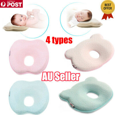 Baby Infant Newborn Memory Foam Pillow Prevent Flat Head Anti Roll Support VW