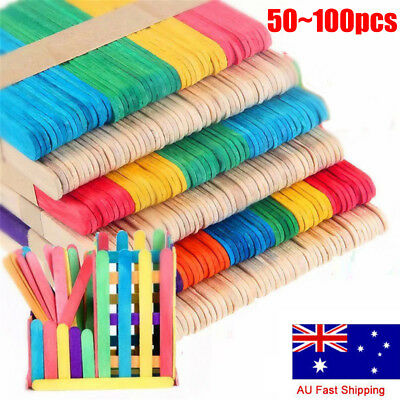 100 Wooden Craft Stick Paddle Pop Popsicle Coffee Stirrers Ice Cream Sticks VW