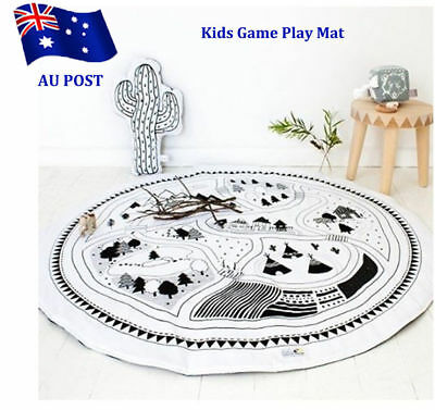 Soft Cotton Baby Kids Game Gym Activity Play Mat Crawling Blanket Floor Rug VW