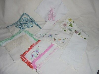 Vintage hankie handkerchief lot of 12 crochet embroidered