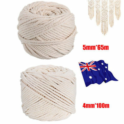 4/5mm Macrame Rope Natural Beige Cotton Twisted Cord Artisan Hand Craft 100M VW