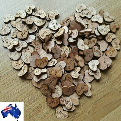 100pcs Rustic Wooden Wood Love Heart Wedding Table Scatter Decoration Crafts VW