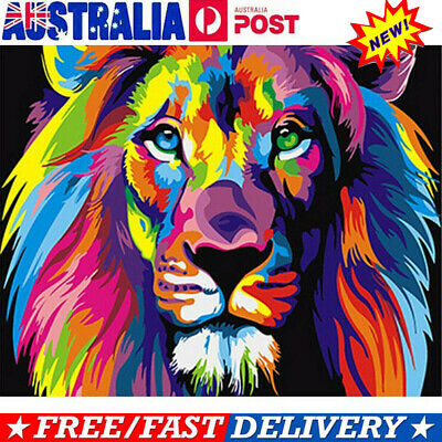 DIY Filling Oil Canvas Paint By Number Kit Multi-Colored Lion Animals Painting V
