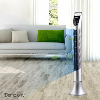 Portable Cross Flow Tower Fan Remote Control Touch Panel 3 Mode Timer Silver@TOP