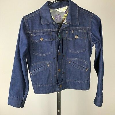 Vtg 70s JcPenney Youth Denim Jacket Hand Embroidered Long Sleeve Medium