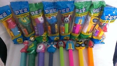 PEZ 2000 Bugz Beetle Grasshopper Flutterby Fly Bee Caterpillar Lady Bug Worm MIB