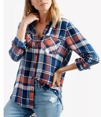 9721e36a Lucky Brand Plaid Button Front Down Shirt Long Sleeve Pink Multi XS $79.50  NWT