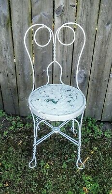 Vintage Antique White Metal Wrought Iron Patio Parlor Chair