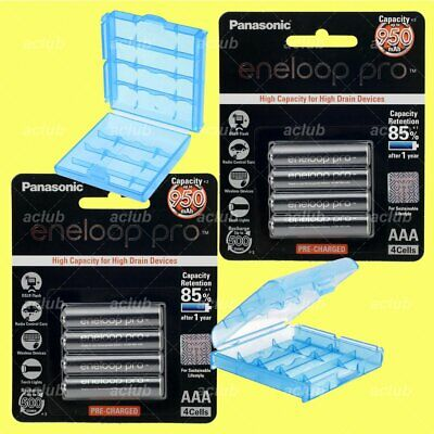 8x Panasonic eneloop pro 950mAh AAA Rechargeable Battery + 2 Blue Storage Case