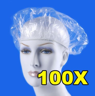 100pcs/pack Shower Bathing Cap Clear Disposable Hat Hotel One-Off Elastic