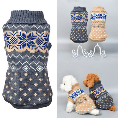Cat Small Dog Sweater Knit Clothes Warm Puppy Pet Coat Outwear Jacket XS-XXL