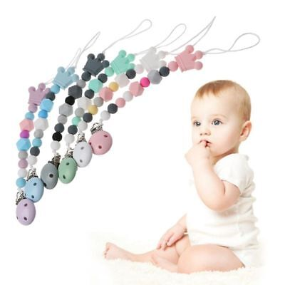 Baby Dummy Chain Silicone Pacifier Bead Dummy Clip Infant Newborn Teether Toy