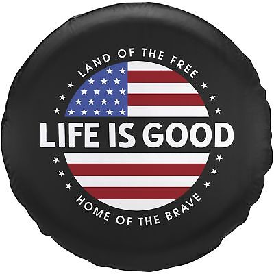Life is Good. Tire Cover Circle Flag - Night Black (29)