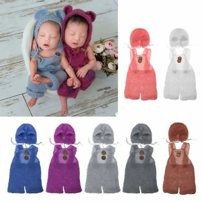Newborn Baby Infant Props Boy Girl Hat and Overalls Set Photo Clothes Jumsuit