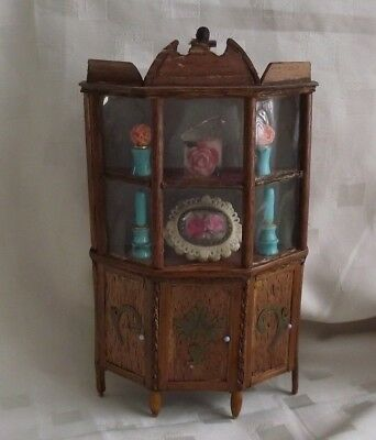 Antique Wooden Display Cabinet for 1/12 dolls house furniture