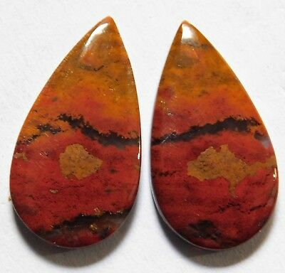 18.55Cts Natural Blood Stone (26.7mm X14.3 mm each) Loose Cabochon Match Pair