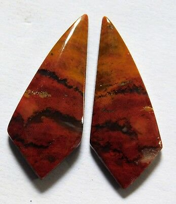 16.00 Cts Natural Blood Stone (30.8mm X12.3 mm each) Loose Cabochon Match Pair