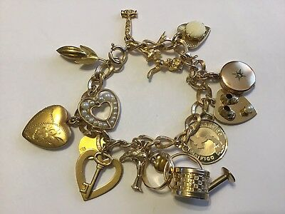 Vintage Art Deco Gold Filled Heart Locket & Charm Bracelet