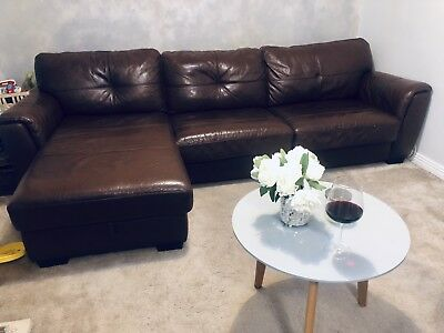 Dfs Brown Leather Corner Sofa Bed With Storage Footstool Matching Armchair