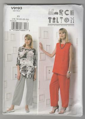 Vogue Sewing Pattern V9193 Marcy Tilton Miss Easy Tunic Top and Pants Sz 16-24