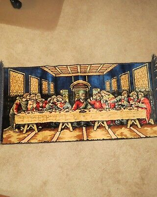 Vintage Velvet Tapestry Wall Hanging Rug The Last Supper Bought