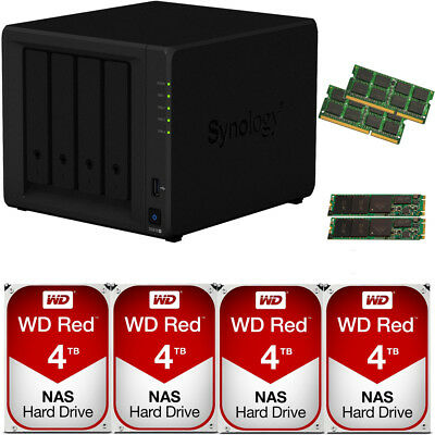 Synology DS918+  8GB RAM 512GB SSD Cache and 16TB of Western Digital NAS Drives