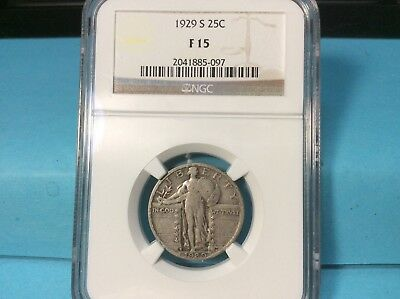 1929-S Silver Standing Liberty Quarter NGC F 15 Very Nice Details and Eye Appeal