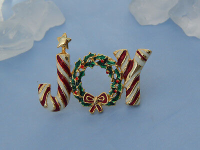 JOY Gold-Tone Enamel Christmas Brooch Pin, Candy Cane Stripes, Wreath & Star