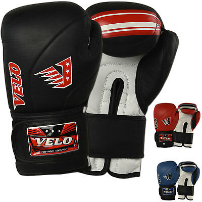 VELO Leather Boxing Gloves Punch Bag Fight gym MMA Muay Thai Sparring Pads AU