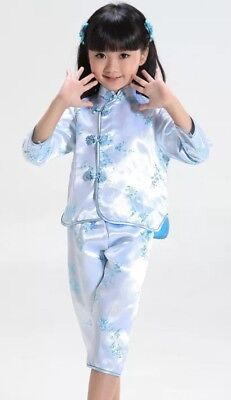 Chinese Japanese Blue Childrens Girls Floral Top & Trousers Set Pyjama cgps7