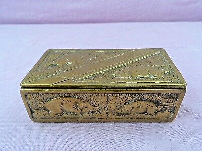 ANTIQUE BRASS SNUFF / STAMP BOX WITH HINGED LID & CAST PIG DECORATION 3 x 1 1/2""