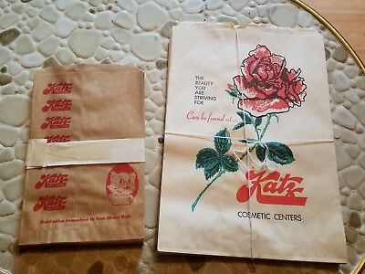 Lot of Two Different Vintage Katz Drug Store Paper Bags - NOS