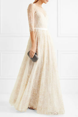 a7ef423b24 $995 NEW Marchesa Notte Embellished Tulle Ivory Glitter Sweetheart Illusion  Gown
