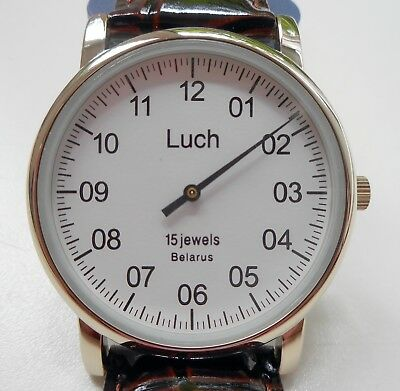 Luch One Hand Mechanical Wristwatch Men's Vintage White 337477760 EN