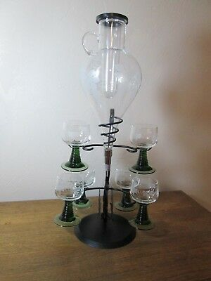 Vintage German Toasting Wine Dispenser With 6 Roemer Glasses &  Metal Stand
