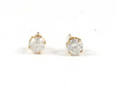 14k Yellow Gold Round Diamond Solitaire Stud Earrings .42ct