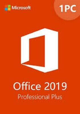 Microsoft Office 2019 Pro 32/64 Bit Retail Installs On 1 PC + Free USA Support