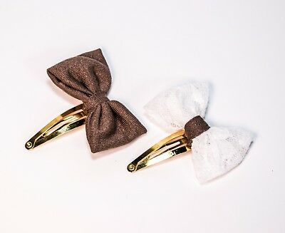 Kids Girls Brown White Bows Barrettes 2-Pack