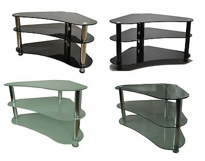 Curved TV Stand Glass Table Televisions 27 to 48 Inch Clear / Black / White