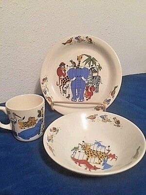 CHILD'S PLATE~~CUP~~BOWL~~CIRCUS ANIMALS~~~ Mid-Century~~~Stavangerflint, NORWAY