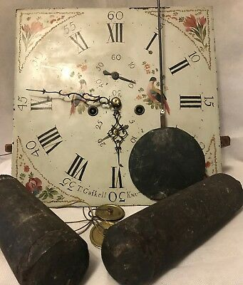 """Antique 1700's Thomas Gaskell English Tall Case Clock Movement """"Serviced"""""""