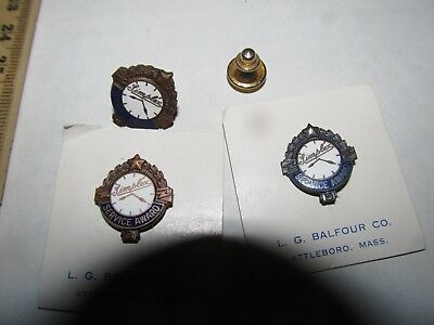 Lot of 3 SIMPLEX TIME RECORDER CLOCK MAKERS Employee Service Award Vintage Pin