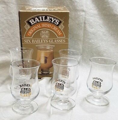 5 BAILEYS Original Irish Cream Logo Shot Glasses Liqueur Snifter Cordial H6