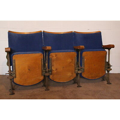 A Row of Three Vintage Retro C1930s Art Deco Cinema or Theatre Seats or Chairs