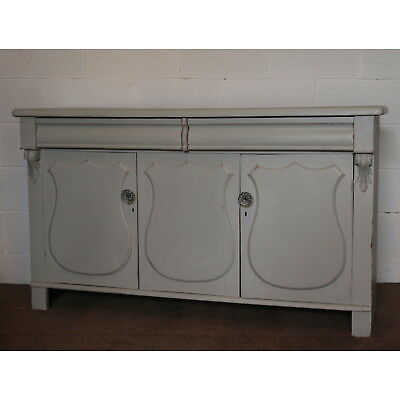 A Victorian Chabby Chic Grey Painted Sideboard Buffet Cabinet