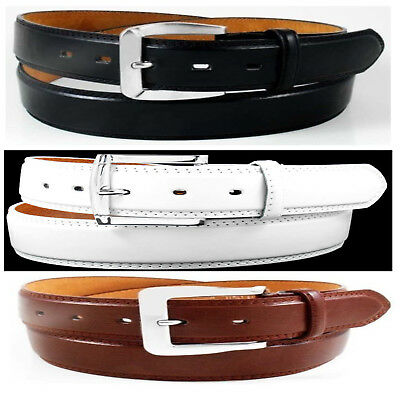 BLACK BROWN WHITE LEATHER STITCHED BELT with REMOVABLE METAL BELT BUCKLE
