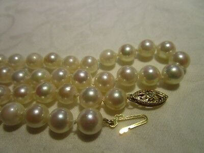 """Beautiful Vtg 14K Gold Genuine Aaa Quality Cultured Pearl 32.5"""" Necklace Estate"""
